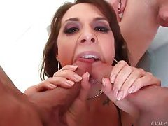 Horny glamorous slut sucks on cocks tubes