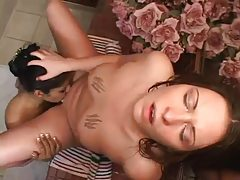 Beauties in bathroom shower and lick vagina tubes