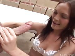 Warehouse slut used by two guys tubes