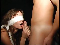 Blindfolded girl in an orgy tubes