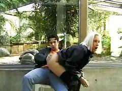 Leather jacket dude fucks blonde outdoors tubes