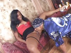 Perky ebony beauty enjoys riding her lover tubes