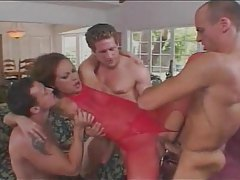 Hot slut in red lingerie makes gangbang porn tubes