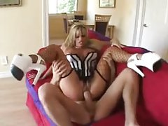 Slutty milf in lingerie sits on big boner tubes