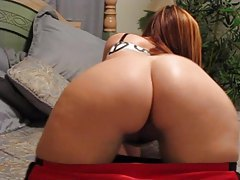 Babe with perfect round ass exposes her shaved twat tubes