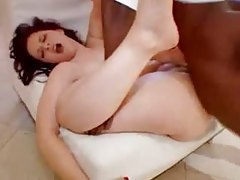 Milky white babe laid by big black cock tubes