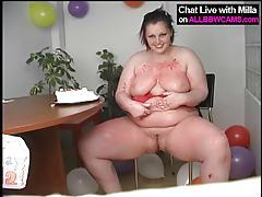 BBW BDAY CANDLES IN PUSSY CHUBBY ASS tubes