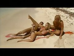 Gorgeous blonde duo anal fucked at the beach tubes
