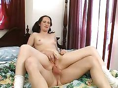 Teen in pigtails and sneakers laid in the ass tubes