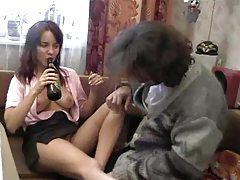 Drunk teen enjoys getting her holes fondled with tubes