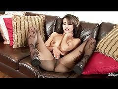 Black patterned pantyhose are hot on brunette tubes
