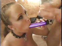 Slut in collar submits to anal sex tubes