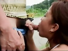 Asian sucks cock on the side of the road tubes