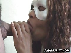 Masked amateur wife sucks cock with facial tubes