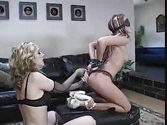 Kinky lesbian femdom with anal play tubes