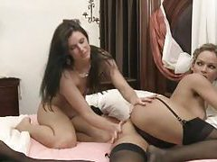 Gorgeous lesbian duo have hardcore fuck tubes