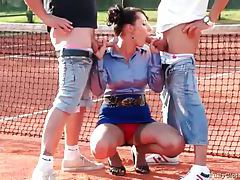 Tennis players blown by babe in satin blouse tubes