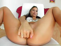 Finger banging girl takes toy in the ass tubes
