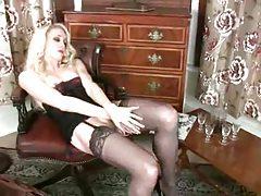 Glamorous lingerie girl solo tease tubes