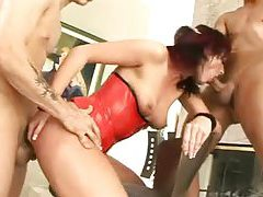 Pierced nipples slut in her DP video tubes