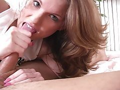 Smiley brunette with perfect pussy gives handjob tubes