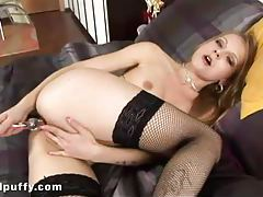 Tiny blonde Goldie in hot stockings fucks herself tubes