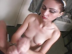 Energetic lover strokes her mans cock POV style tubes