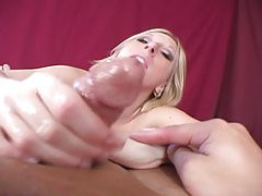 Pierced blonde babe smothers cock with her ass tubes