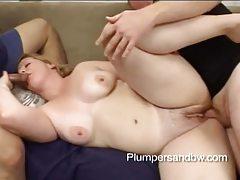 Chubby blonde gets her ass filled in hot threesome tubes