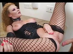Roleplay sex in leather and fishnet stockings tubes
