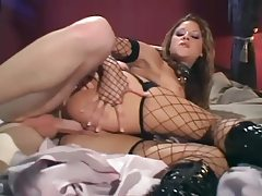 Sex in a corset sexy boots and fishnet stockings tubes