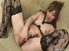 Sexy patterned stockings on a Japanese girl tubes