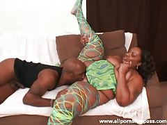Ebony BBW sucks black shaft with wet mouth tubes