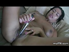 Latina milf with many piercings fucking a silver dildo tubes