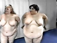 Gym full of obese babes seduce their trainer tubes