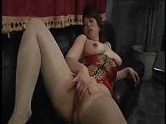 Fuck a mature slut in shiny pantyhose tubes