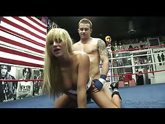 Big titty babe boned in boxing ring tubes