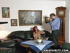 Redhead amateur Milf sucks cock with cum on tits tubes