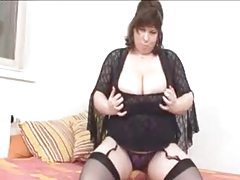 Fat chick with fantastic tits in lingerie tubes