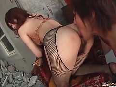 He licks her hairy Japanese pussy and ass tubes