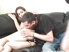 Two perky babes getting their asses spanked in threesome tubes