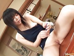 Up close admiration of shaved Japanese pussy tubes