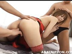 Stockings and red satin on sultry Japanese model tubes
