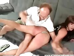 Brunette babe with hot ass getting spanked by older man tubes