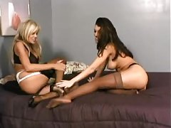 Stockings fetish sex with lesbians tubes
