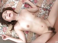 Cumshot on her face and in her Japanese pussy tubes