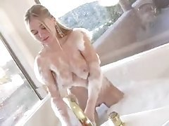 Sexy Alison Angel takes a bubble bath tubes