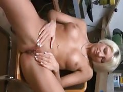 Amateur blonde with stunning body bends over for fuck tubes