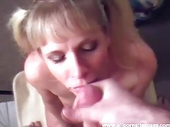 Amateur blonde minx giving head tubes
