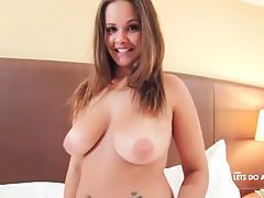 Smiley Latina cutie with perfect tits stripping naked tubes